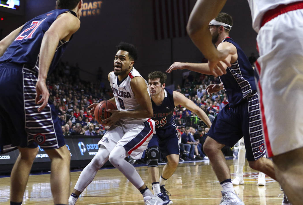 Gonzaga guard Silas Melson (0) drives to the basket against St. Mary's during the West Coast Conference basketball championship game at the Orleans Arena in Las Vegas on Tuesday, March 7, 2017. (C ...