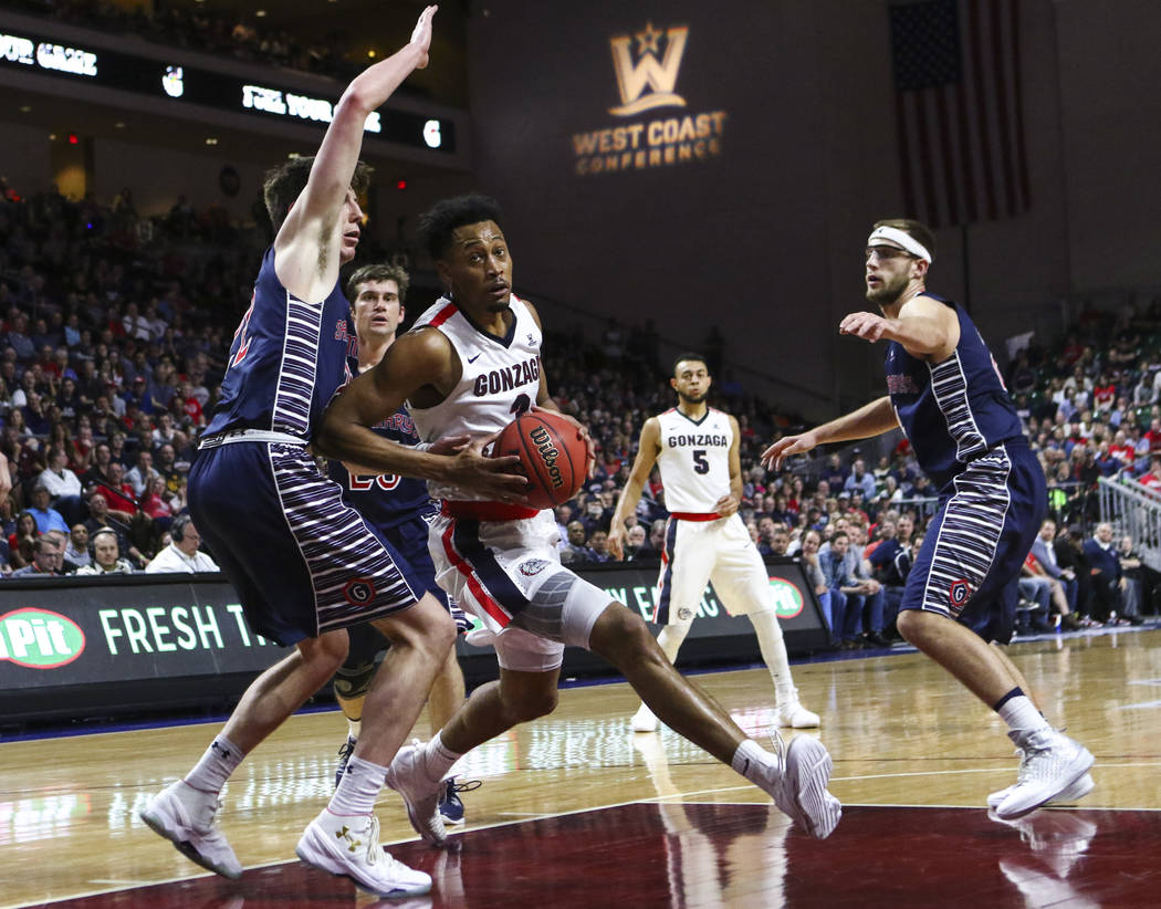 Gonzaga forward Johnathan Williams (3) drives to the basket against St. Mary's during the West Coast Conference basketball championship game at the Orleans Arena in Las Vegas on Tuesday, March 7,  ...