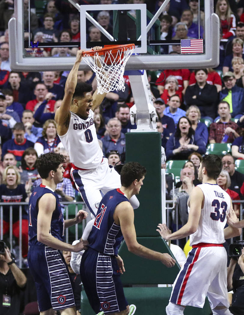 Gonzaga guard Silas Melson (0) dunks against St. Mary's during the West Coast Conference basketball championship game at the Orleans Arena in Las Vegas on Tuesday, March 7, 2017. (Chase Stevens/La ...