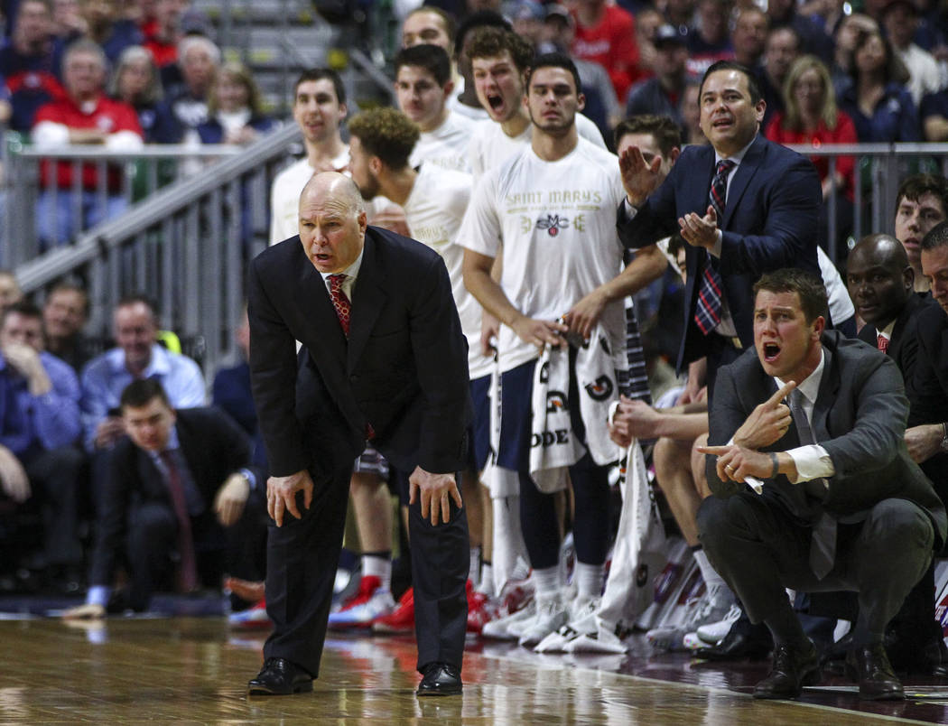 St. Mary's head coach Randy Bennett looks on during the West Coast Conference basketball championship game against Gonzaga at the Orleans Arena in Las Vegas on Tuesday, March 7, 2017. (Chase Steve ...