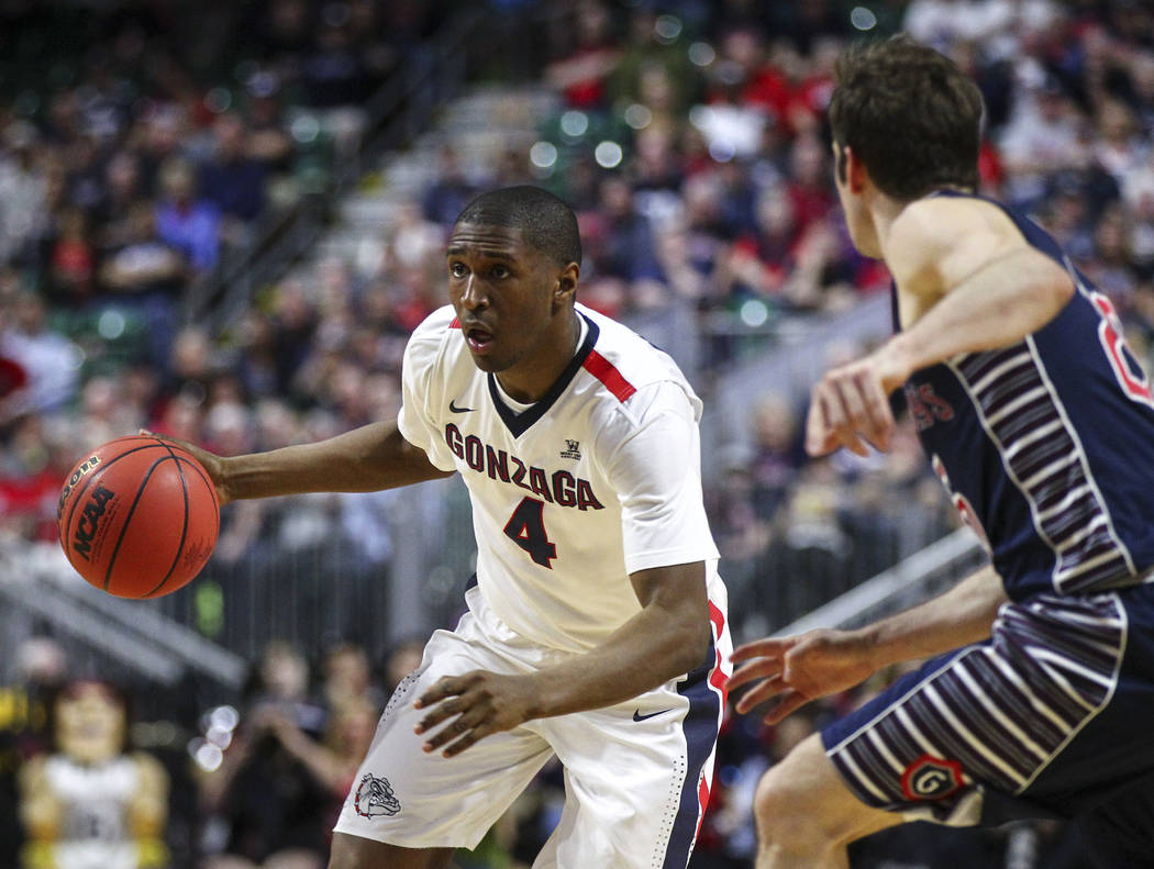 Gonzaga guard Jordan Mathews (4) drives against St. Mary's during the West Coast Conference basketball championship game at the Orleans Arena in Las Vegas on Tuesday, March 7, 2017. (Chase Stevens ...