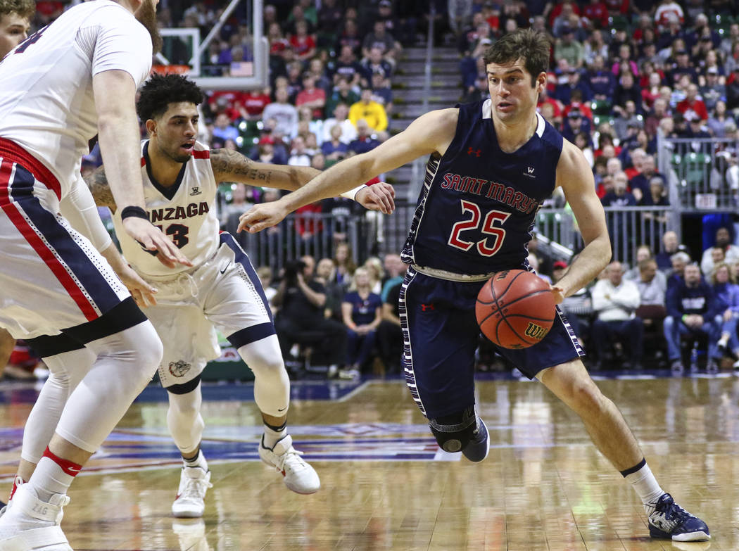 St. Mary's guard Joe Rahon (25) drives against Gonzaga during the West Coast Conference basketball championship game at the Orleans Arena in Las Vegas on Tuesday, March 7, 2017. (Chase Stevens/Las ...