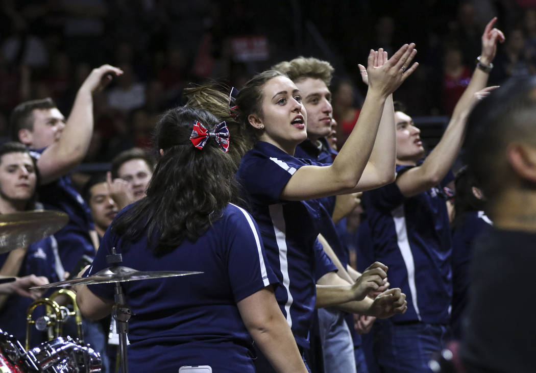Gonzaga marching band members cheer during the West Coast Conference basketball championship game against St. Mary's at the Orleans Arena in Las Vegas on Tuesday, March 7, 2017. (Chase Stevens/Las ...
