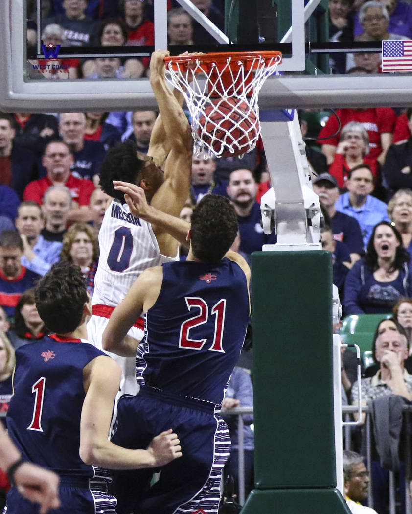 Gonzaga guard Silas Melson (0) dunks over St. Mary's center Evan Fitzner (21) during the West Coast Conference basketball championship game at the Orleans Arena in Las Vegas on Tuesday, March 7, 2 ...