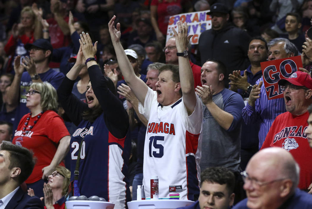 Gonzaga fans during the West Coast Conference basketball championship game against St. Mary's at the Orleans Arena in Las Vegas on Tuesday, March 7, 2017. (Chase Stevens/Las Vegas Review-Journal)  ...