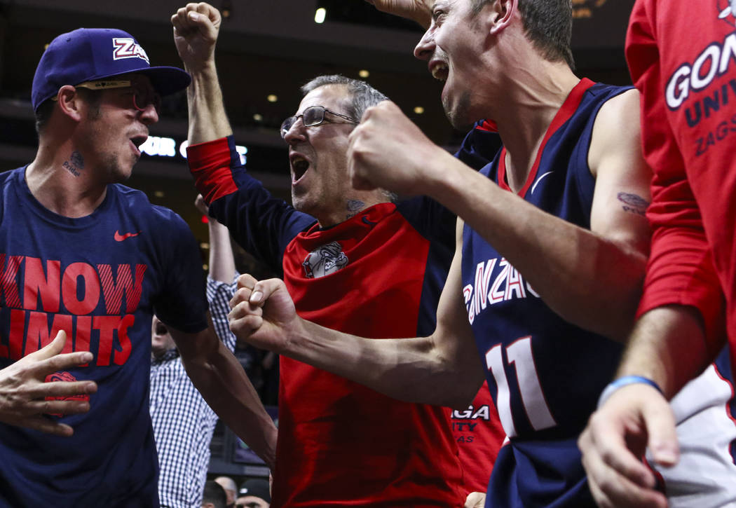 Gonzaga fans cheer during the West Coast Conference basketball championship game against St. Mary's at the Orleans Arena in Las Vegas on Tuesday, March 7, 2017. (Chase Stevens/Las Vegas Review-Jou ...