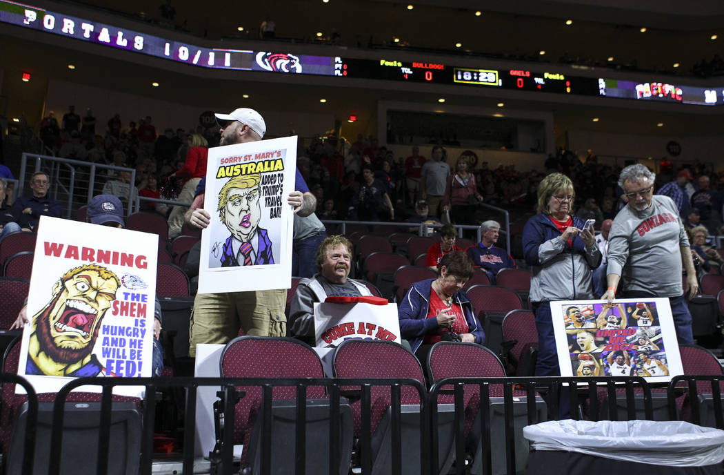 Gonzaga fans before their team plays St. Mary's in the West Coast Conference basketball championship game at the Orleans Arena in Las Vegas on Tuesday, March 7, 2017. (Chase Stevens/Las Vegas Revi ...