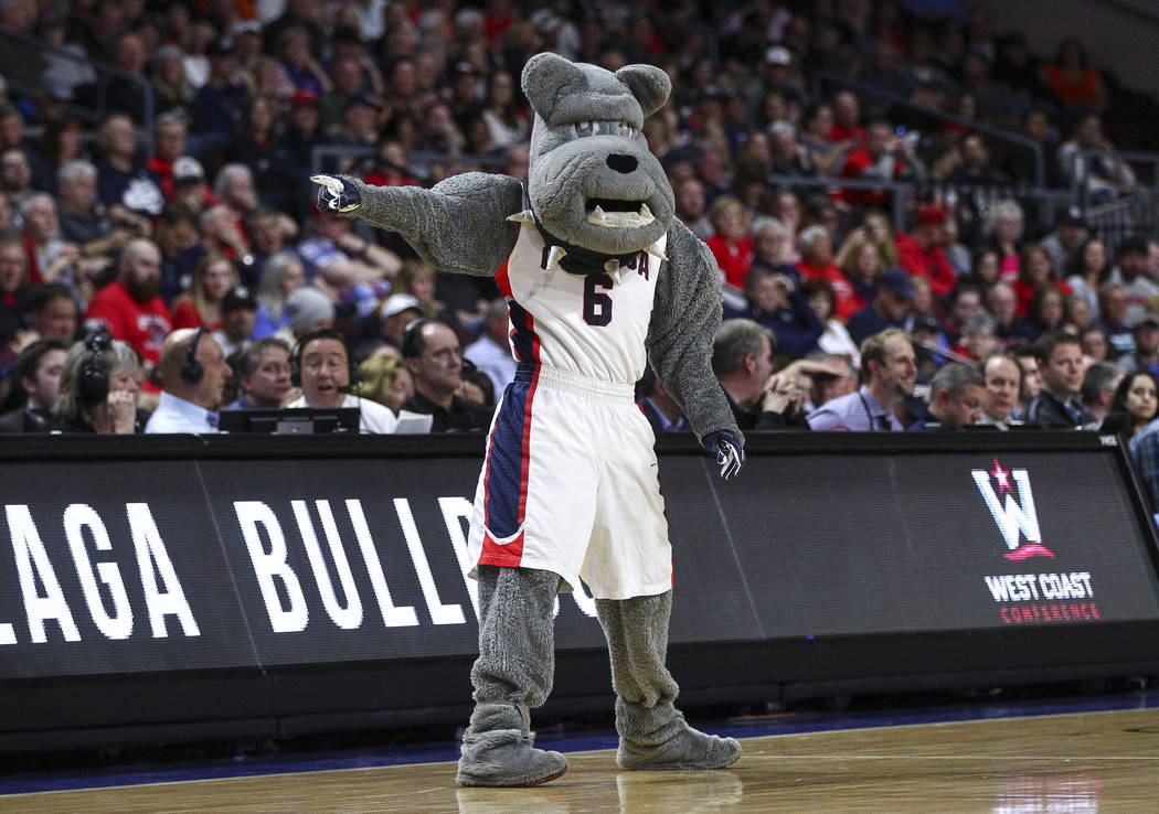 Gonzaga mascot Spike the bulldog during the West Coast Conference basketball championship game against St. Mary's at the Orleans Arena in Las Vegas on Tuesday, March 7, 2017. (Chase Stevens/Las Ve ...