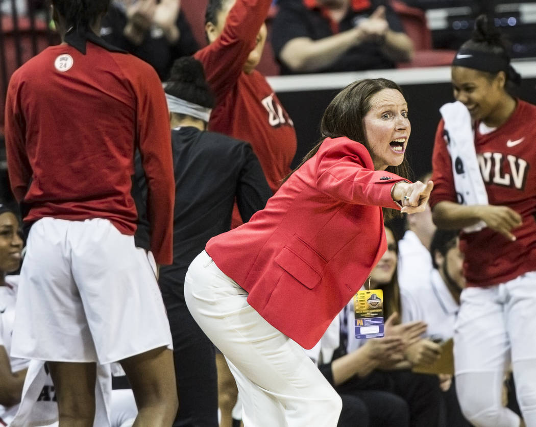 UNLV head coach Kathy Olivier calls out a play during the second round of the Mountain West tournament on Tuesday, March 7, 2017, at Thomas & Mack Center, in Las Vegas.  (Benjamin Hager/Las Ve ...