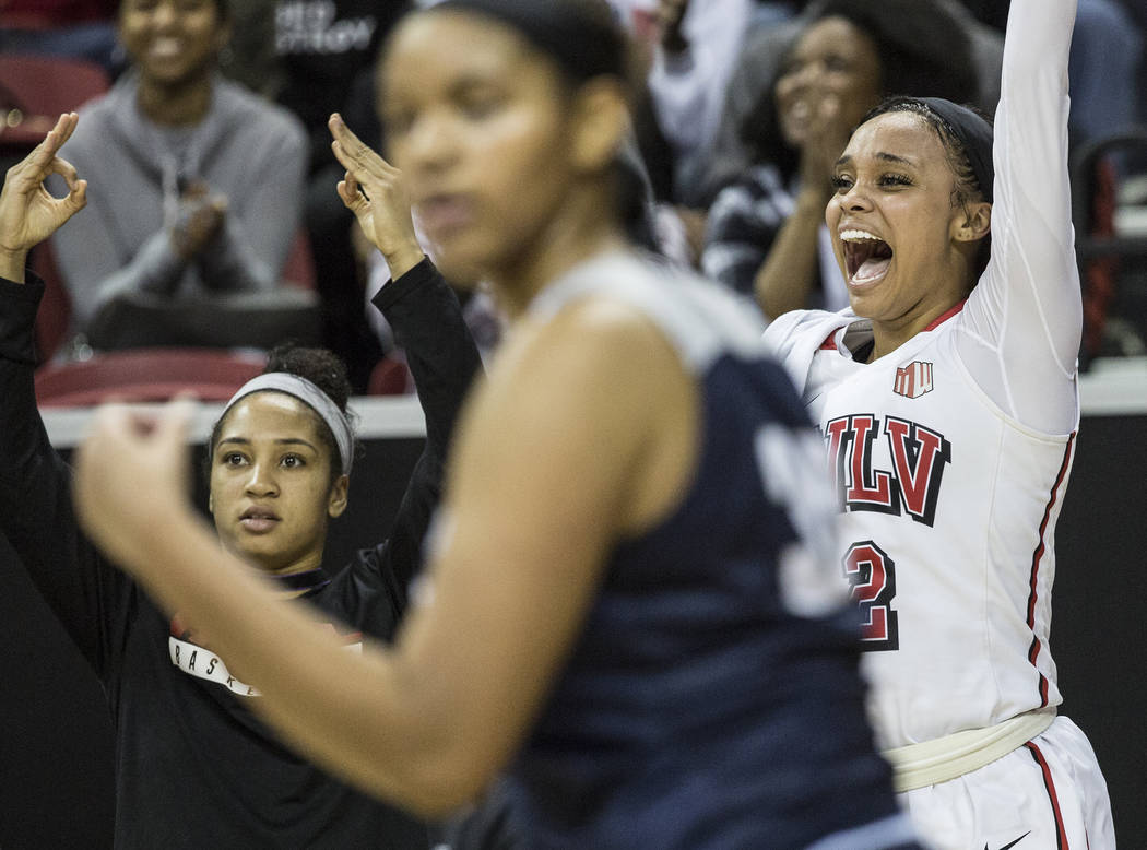 UNLV's Dakota Gonzalez (12) cheers for her teammates during the second round of the Mountain West tournament on Tuesday, March 7, 2017, at Thomas & Mack Center, in Las Vegas.  (Benjamin Hager/ ...