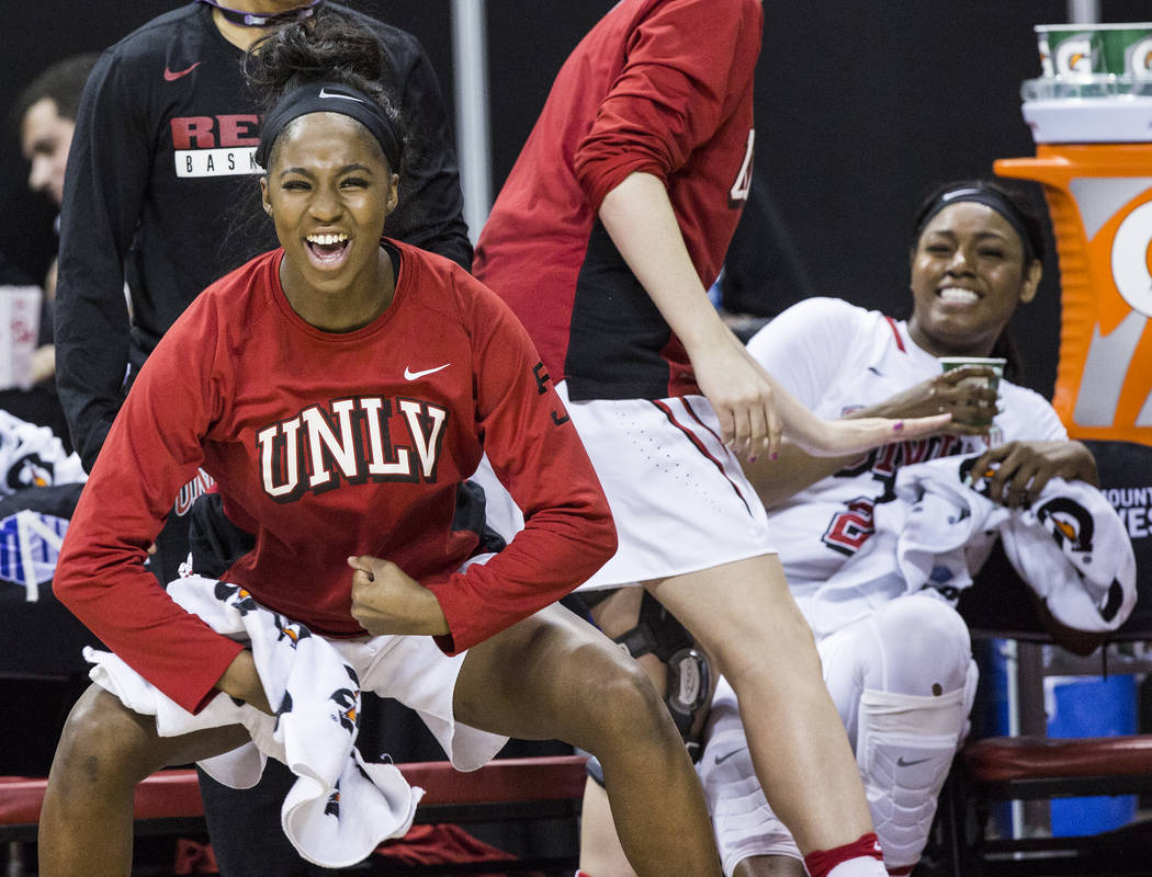 UNLV's Rodjanae Wade (24) cheers for her teammates during the second round of the Mountain West tournament on Tuesday, March 7, 2017, at Thomas & Mack Center, in Las Vegas.  (Benjamin Hager/La ...