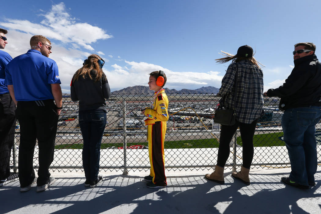 Fans watch as the NASCAR Sprint Cup Series Kobalt 400 race begins at the Las Vegas Motor Speedway in Las Vegas on Sunday, March 6, 2016. Chase Stevens/Las Vegas Review-Journal Follow @csstevensphoto