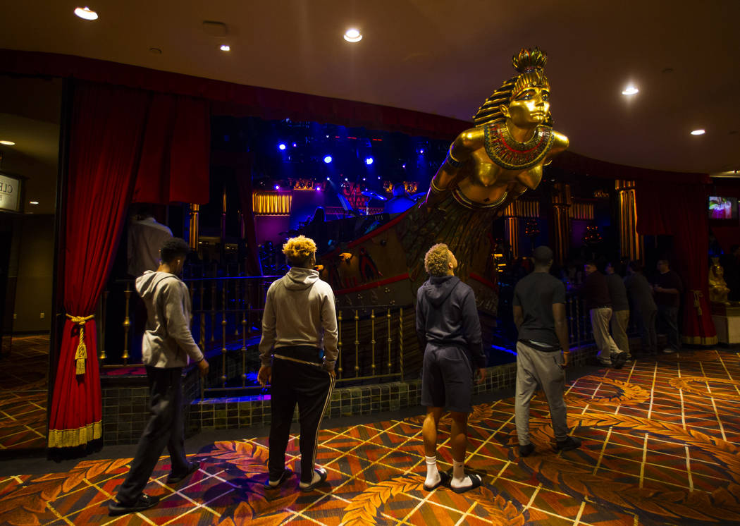 People pass by Cleopatra's Barge as the David Perrico Pop Strings Orchestra performs at Caesars Palace in Las Vegas on Friday, March 3, 2017. (Chase Stevens/Las Vegas Review-Journal) @csstevensphoto