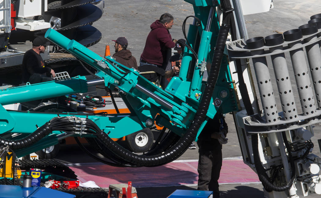 Various construction equipment is set up ahead of the ConExpo-Con/Agg trade show at the Las Vegas Convention Center in Las Vegas, Wednesday, March 1, 2017. The show will run March 7-11, and is exp ...