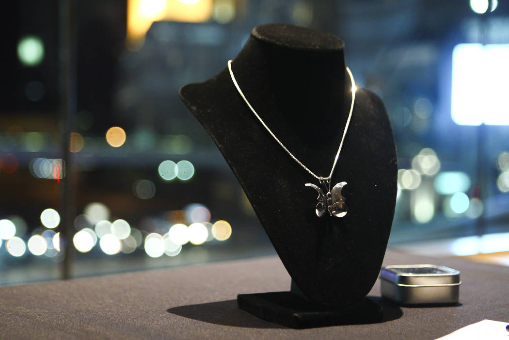 A steel butterfly necklace created by Las Vegas police officer Brent Garcia during the Cops and Canvas fundraising event for the Metropolitan Police Department at Neiman Marcus inside of the Fashi ...