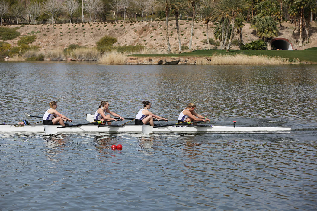 The University of Washington women's varsity 4+ rowing team crosses the finish line ahead of University of Southern California during the first Collegiate Invitational Rowing Regatta at Lak ...