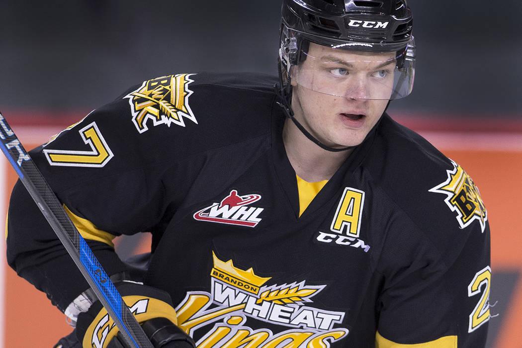 WHL (Western Hockey League) player profile photo on Brandon Wheat Kings' Reid Duke at a game against the Calgary Hitmen in Calgary, Alberta on Jan. 29, 2017. (Larry MacDougal via AP)
