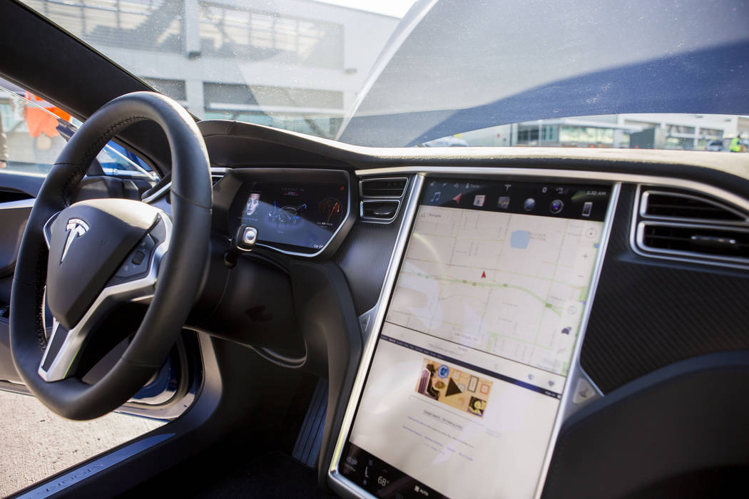 The interior of a Model S Tesla sedan at the Regional Transportation Commission of Southern Nevada Training Center, Wednesday, March 8, 2017, in Las Vegas.  (Elizabeth Brumley/Las Vegas Review-Jou ...