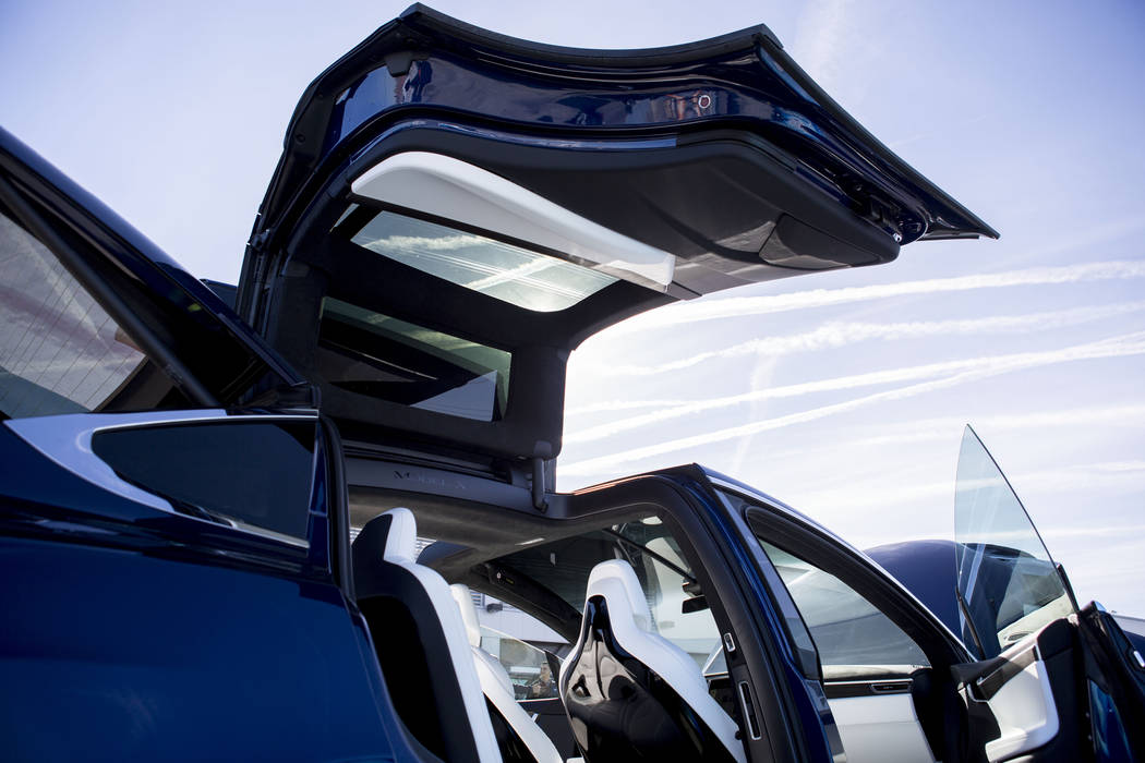 A Model X Tesla SUV crossover at the Regional Transportation Commission of Southern Nevada Training Center, Wednesday, March 8, 2017, in Las Vegas.  (Elizabeth Brumley/Las Vegas Review-Journal) @E ...