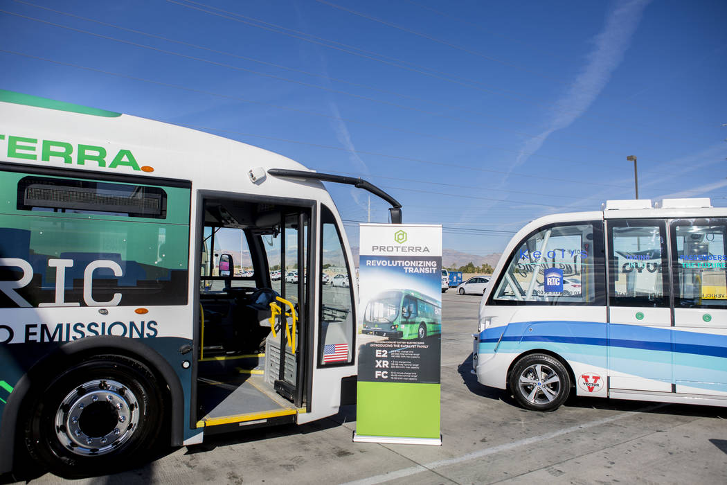 Electric transportation vehicles at the Regional Transportation Commission of Southern Nevada Training Center, Wednesday, March 8, 2017, in Las Vegas.  (Elizabeth Brumley/Las Vegas Review-Journal) ...