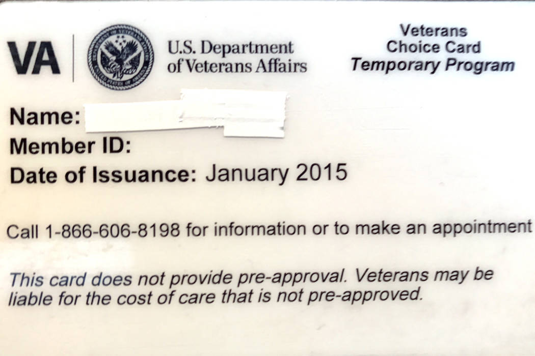 Veterans can use choice cards like this one for health care at the private William Bee Ririe clinic in Ely if VA Salt Lake City Health Care System doesn't renew its contract with the clinic. (Keit ...