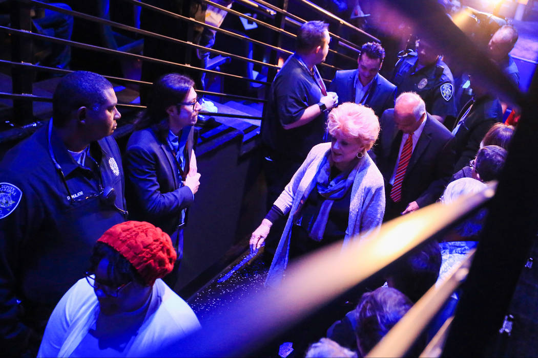 Las Vegas Mayor Carolyn Goodman walks out of thE Arena during the Halo World Championship North American Qualifier at thE Arena in downtown Las Vegas on Friday, March 3, 2017, in Las Vegas. (Brett ...