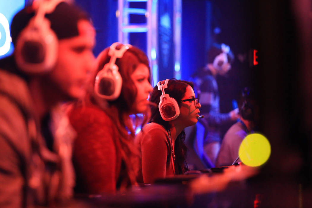 """In the main arena, """"Precious"""", center, plays in the first round of the Halo World Championship North American Qualifier at thE Arena in downtown Las Vegas on Friday, March 3, 201 ..."""