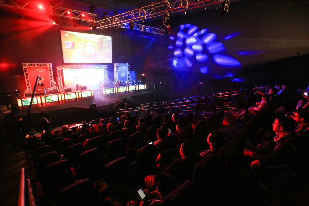 Fans watch teams play in the main arena of the Halo World Championship North American Qualifier at thE Arena in downtown Las Vegas on Friday, March 3, 2017, in Las Vegas. (Brett Le Blanc/Las Vegas ...