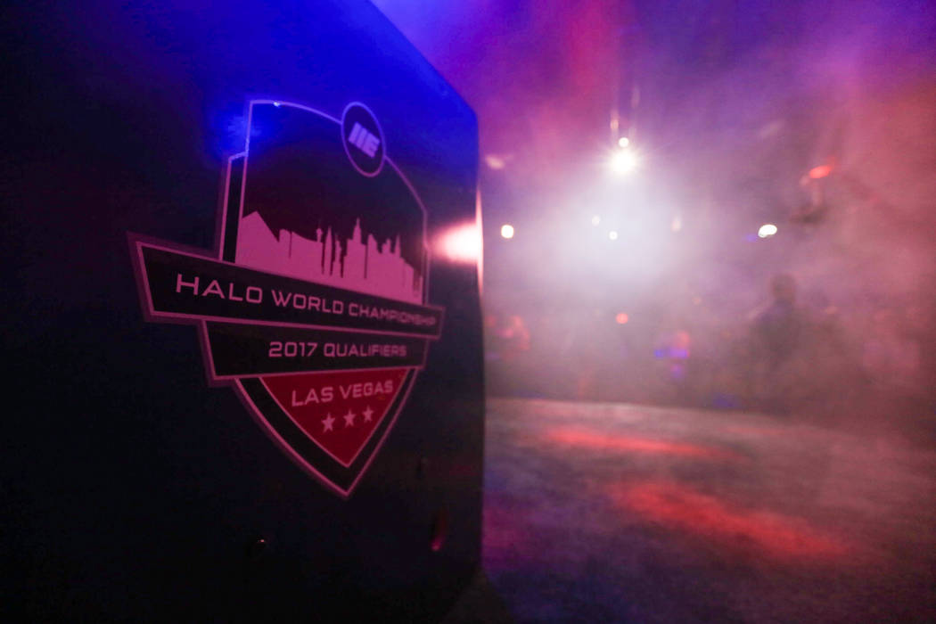 The main stage of thE Arena is prepared before the first game of the Halo World Championship North American Qualifier at thE Arena in downtown Las Vegas on Friday, March 3, 2017, in Las Vegas. (Br ...
