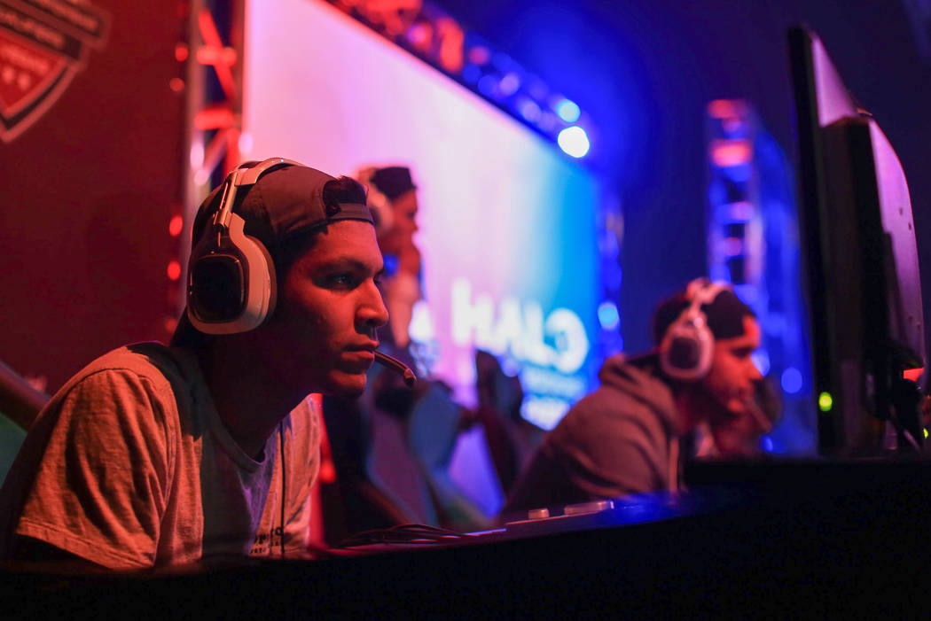 """Epyphron"" competes in the Halo World Championship North American Qualifier at thE Arena in downtown Las Vegas on Friday, March 3, 2017, in Las Vegas. (Brett Le Blanc/Las Vegas R ..."