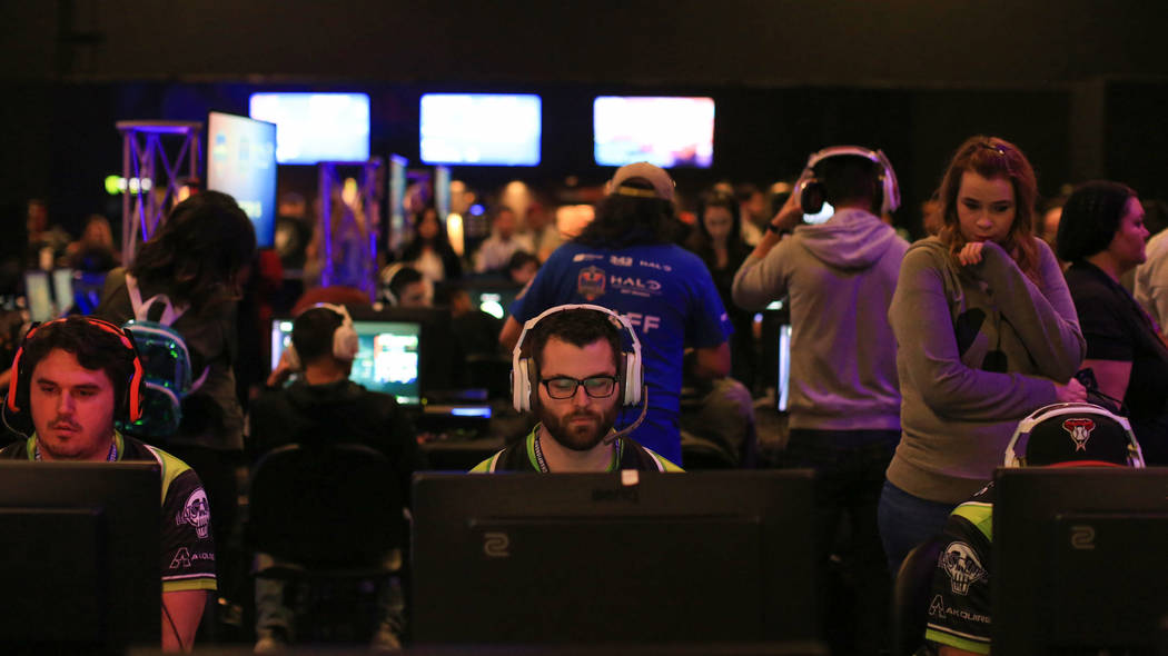 Players get ready to play in a second round of games in the main hall of the Halo World Championship North American Qualifier at thE Arena in downtown Las Vegas on Friday, March 3, 2017, in Las Ve ...