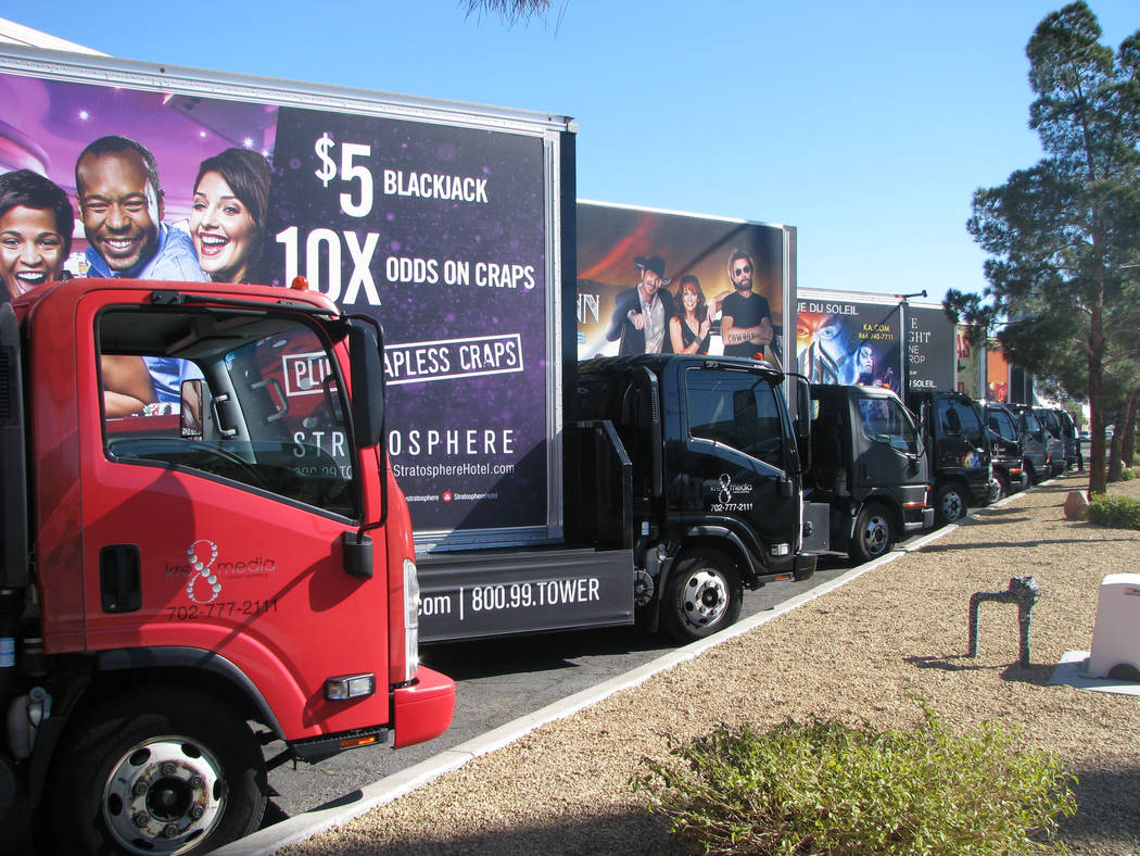 Trucks are lined up at Kre8 Media Outdoor Advertising. (F. Andrew Taylor/View) @FAndrewTaylorPress