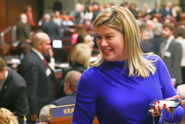 State Sen. Patricia Farley arrives for Nevada Gov. Brian Sandoval's final State of the State address at the Legislative Building in Carson City on Tuesday, Jan. 17, 2017. (Chase Stevens/Las Vegas  ...
