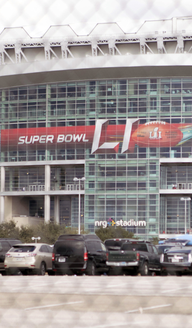 The NRG stadium in Houston, Texas, features a Super Bowl 51 banner on Feb. 5, 2017. (Heidi Fang/Las Vegas Review-Journal) @HeidiFang