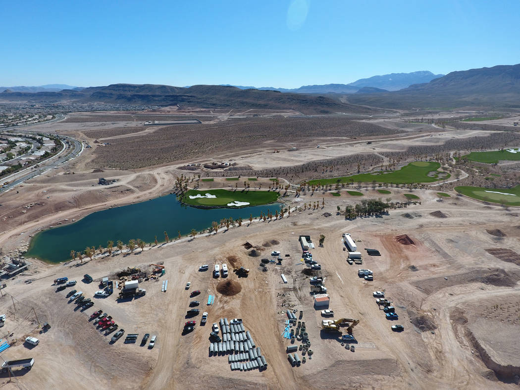 Construction of a new 18-hole championship golf course, as seen from the air on Thursday, March 2, 2017, is designed by Tom Fazio and will be a part of The Summit, a new luxury residential communi ...