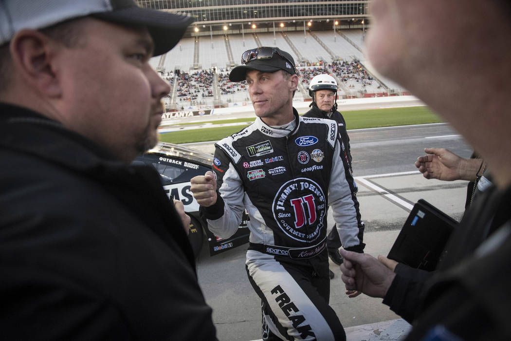 Kevin Harvick is pictured after winning the pole for the NASCAR Monster Energy Cup auto race at Atlanta Motor Speedway in Hampton, Ga., Friday, March 3, 2017. (AP Photo/John Amis)