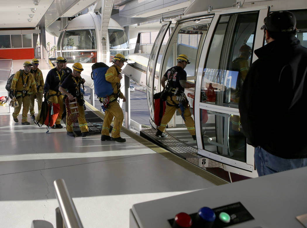 Las Vegas Valley firefighters board The High Roller Observation Wheel as they practice rescue scenarios on Tuesday, March 7, 2017, in Las Vegas. (Christian K. Lee/Las Vegas Review-Journal) @chrisk ...