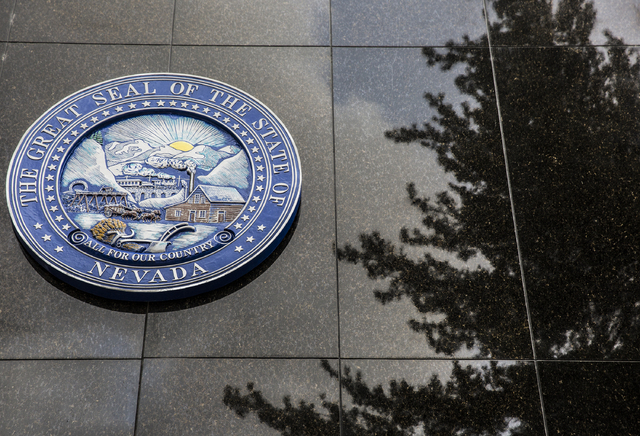 The Nevada State Seal on the north side of the Legislative Building on Thursday, Feb. 9, 2017, in Carson City. (Benjamin Hager/Las Vegas Review-Journal) @benjaminhphoto