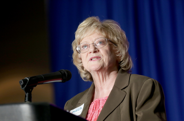 Nevada State Sen. Joyce Woodhouse voices support for Henderson City Councilwoman Debra March at a campaign launch event for her bid as mayor of Henderson at the Henderson Convention Center on Thur ...