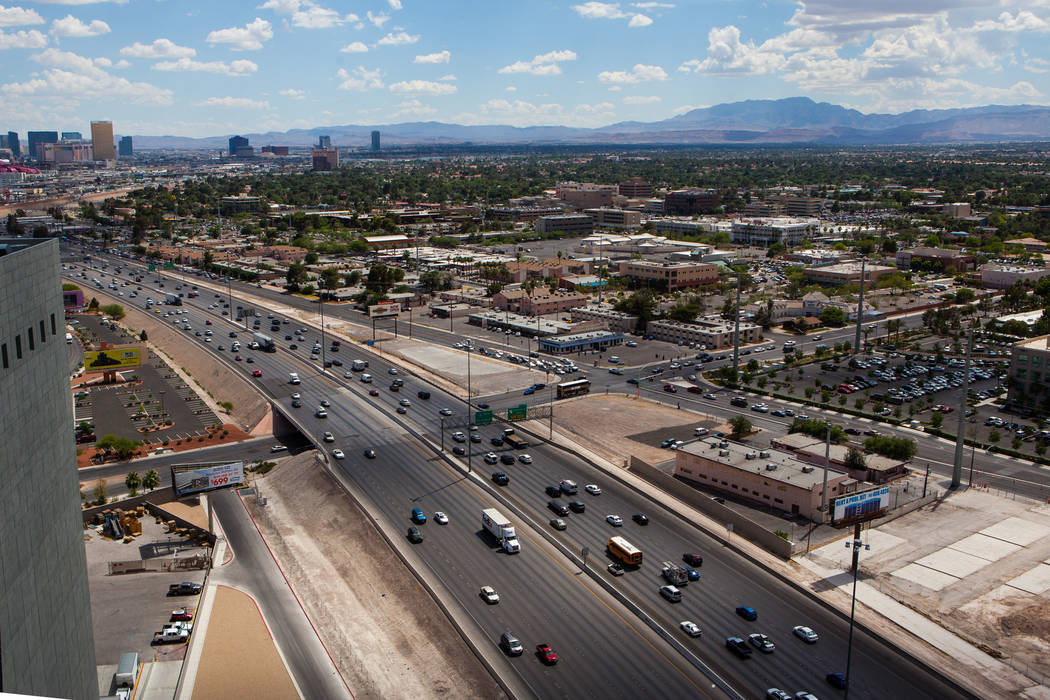 Interstate 15 is seen below from the World Market Center in Las Vegas on Wednesday, June 10, 2015. A public meeting is slated for today about Project Neon, the freeway widening and improvement pro ...