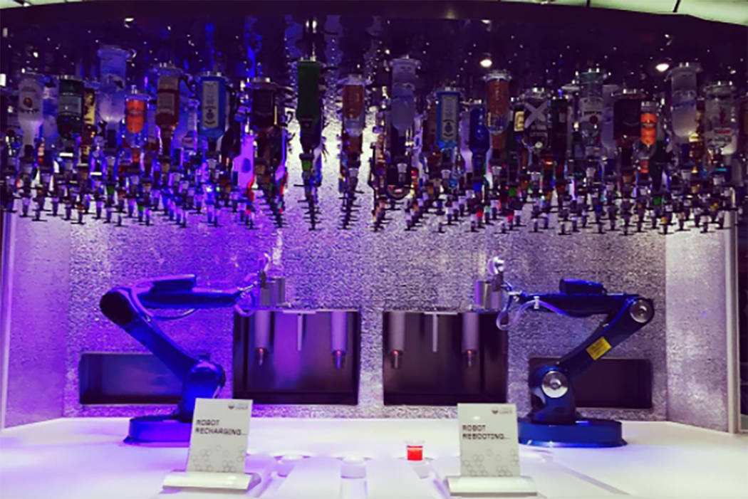 A robotic bar is seen aboard Royal Caribbean ship the Anthem. (@locket_in_my_pocket/Instagram)
