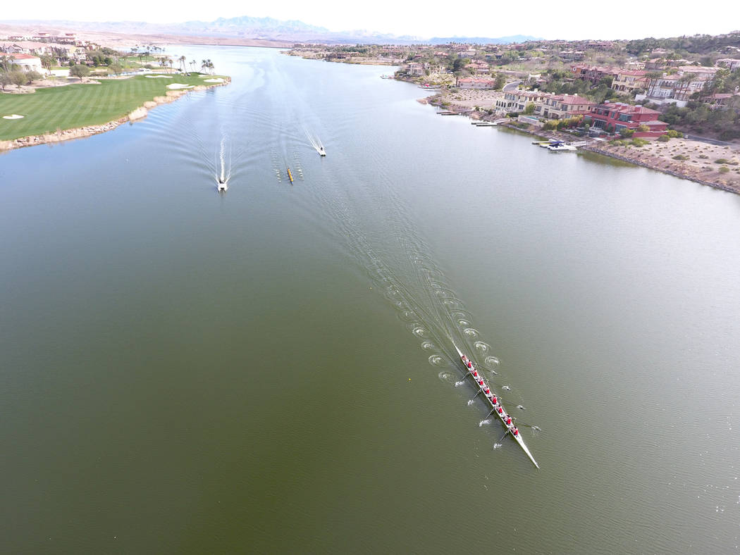 The Oregon State men's rowing team pulls out ahead of University of California Santa Barbara at the first Collegiate Invitational Rowing Regatta at Lake Las Vegas on Saturday, March 4, 2017 ...