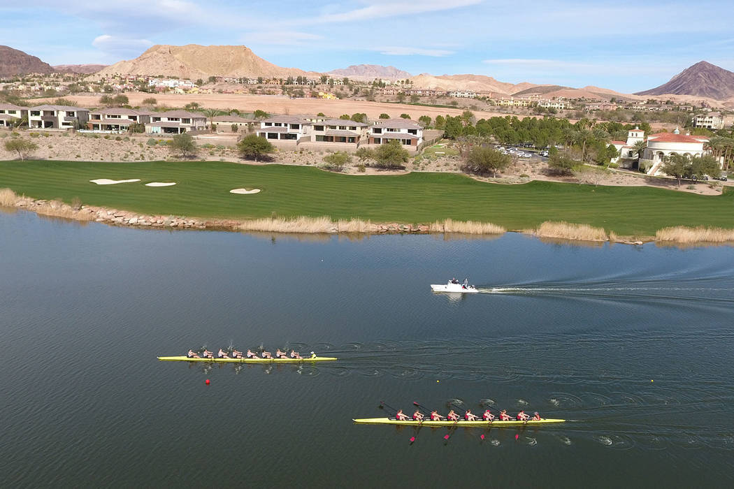 The University of Washington women's rowing team maintains their lead against University of Southern California during the first Collegiate Invitational Rowing Regatta at Lake Las Vegas on  ...