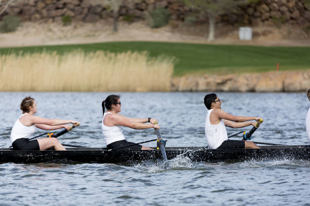 Nevada State College rowing team competes during the Lake Las Vegas Collegiate Invitational, Sunday, March 5, 2017. (Elizabeth Brumley/Las Vegas Review-Journal) @EliPagePhoto