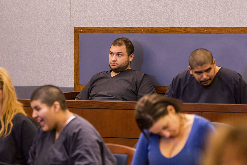 Shane Schindler, facing attempted murder charges, appears at his court hearing at the Regional Justice Center, Tuesday, March 7, 2017, Las Vegas.  (Elizabeth Brumley/Las Vegas Review-Journal) @Eli ...