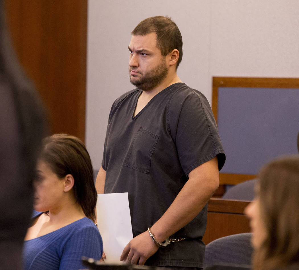 Shane Schindler, facing attempted murder charges, appears at his court hearing at the Regional Justice Center, Tuesday, March 7, 2017, in Las Vegas.  (Elizabeth Brumley/Las Vegas Review-Journal) @ ...