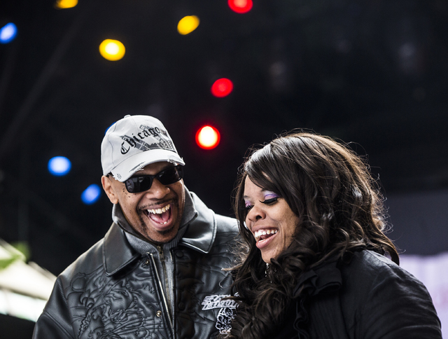 J.C. Simmons, left, and Cap Holmes share a laugh during the 17th Annual Taste and Sound of Soul food and music festival on Saturday, Feb. 25, 2017, at the Fremont Street Experience, in Las Vegas.  ...