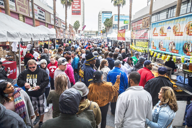 Attendees pack South 3rd Street during the 17th Annual Taste and Sound of Soul food and music festival on Saturday, Feb. 25, 2017, at the Fremont Street Experience, in Las Vegas. (Benjamin Hager/L ...