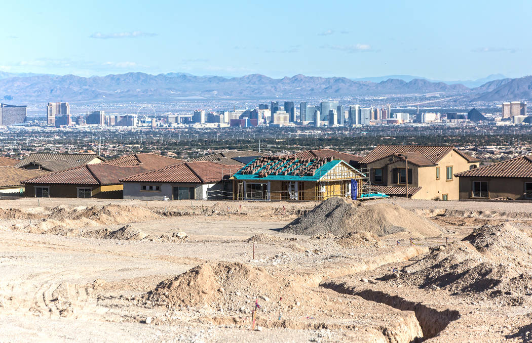 Home construction is under way on the land south of The Paseos in Summerlin on Tuesday, Feb. 28, 2017, in Las Vegas. (Benjamin Hager/Las Vegas Review-Journal) @benjaminhphoto