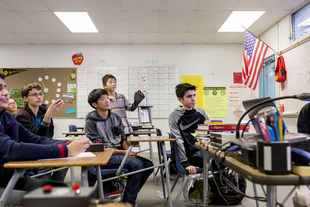 Teammates of MathCounts at Hyde Park Middle School,  practices math drills in preparation for southern Nevada MathCounts state competition, Hyde Park, Las Vegas, Feb. 21, 2017. Hyde Park Middle Sc ...